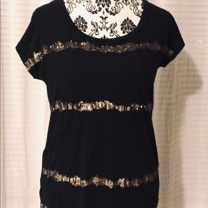 Ann. Taylor Loft sequin accented top